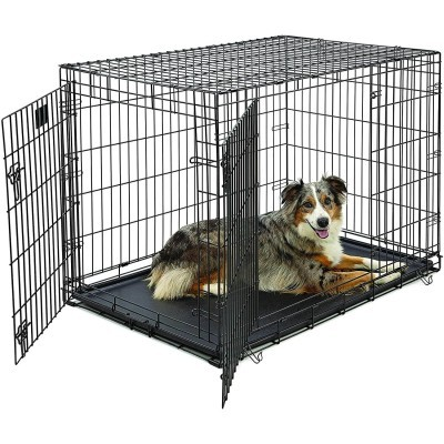 Double Door Folding Crate for Large Dogs