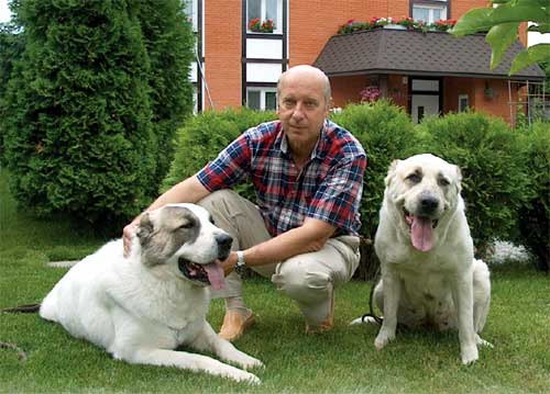 Georgiy Onishchenko with his dogs